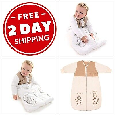 Toddler Sleeping Bag Long Sleeves Winter Coat Wearable Blanket Cotton Polyester