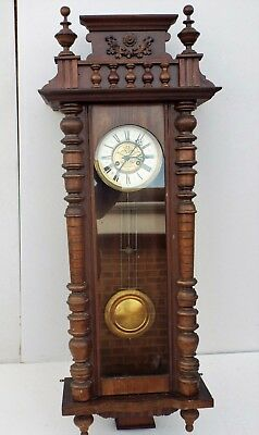 Large victorian vienna spring driven wall clock.