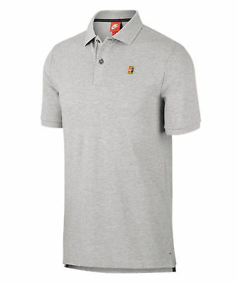 Men's Nike Sportswear Tennis Court Heritage Logo Polo Shirt 943442 063 Grey $50