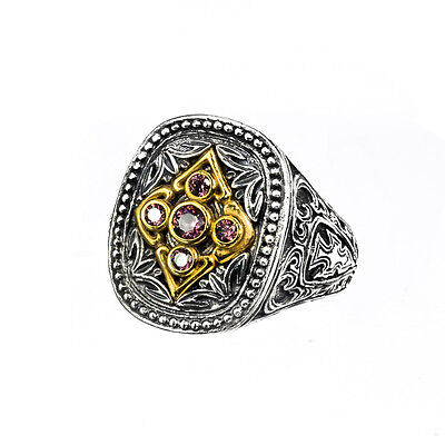 Gerochristo P2601N ~ Sterling & Gold Plated Silver & Zircon Medieval Cross Ring