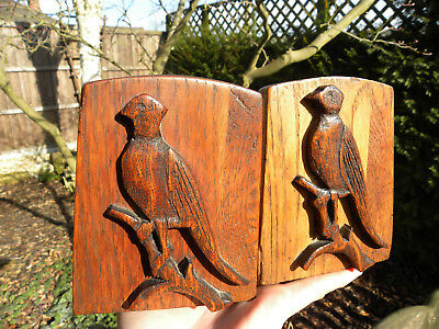 Solid Oak Wood Hand Carved Parrot Bird Book Ends - Dove Tail Joints Nice Colour