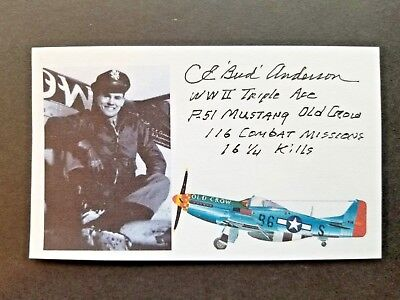 """CLARENCE """"BUD"""" ANDERSON WWII Fighter Pilot Triple Ace Autographed 3x5 Index Card"""