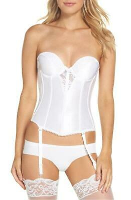 6cbcab11757b0 VA BIEN- Lace Plunge Low Back Bustier with Garters 6363 White $69 Missing  Straps