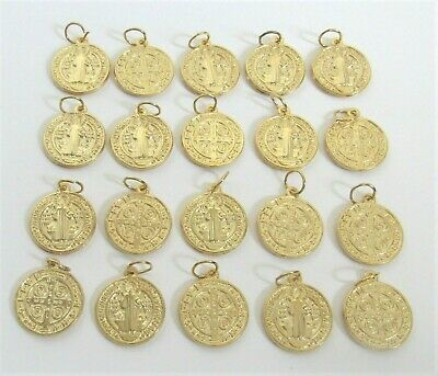 """Lot 20 Saint St. Benedict Charms Holy Medals 5/8"""" ~ Antique GOLD finish"""