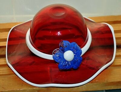 Murano Art Glass Red White Blue Hand Blown Bowl Hat With Flower