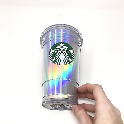Starbucks 16oz Reusable Coffee Cup Holographic W/ Lid And Straw NEW!