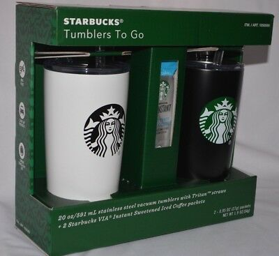 Starbucks Tumblers To Go 20 oz stainless steel Cups with straws + 2 Coffee pack