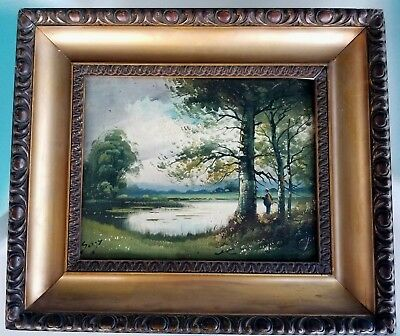 Antique Oil on Board Painting Fishing Landscape Framed Signed Primitive