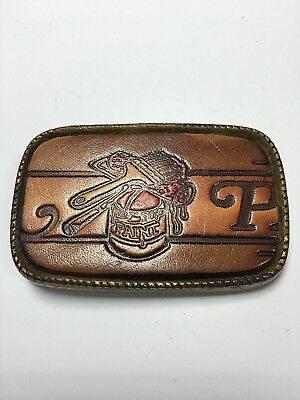 Vintage Painters Belt Buckle Leather And Brass