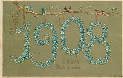 New Year~Large Forget-Me-Not Flower Number 1908 Hangs From Tree~Birds~Emboss