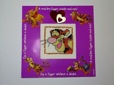 """Completed cross stitch card. Tigger, Pooh Bear, hearts and beads. 5.2"""" x 5.2"""""""