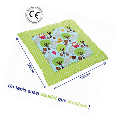 LUDI - Grand mat thick and fluffy for play. Theme animals of the forest
