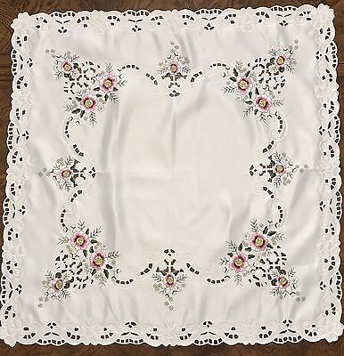 Vintage Embroidered Tablecloth Flowers Cut-Outs Polyester Nice!!