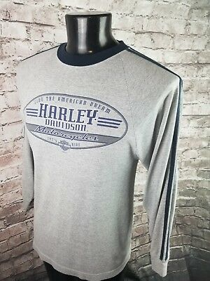 Harley Davidson Long Sleeve T Shirt Gray Blue Shoulder Stripe Mens Medium