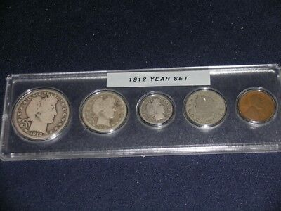 1912 Vintage Circulated Year Set - Nice 5-Coin Set