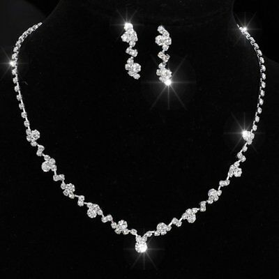 Chic Silver Crystal Bridal Bride Rinestone Necklace Earrings Wedding Jewelry Set
