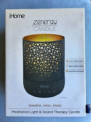 NEW iHome Zenergy Meditative Sound & Light Therapy Candle - Black