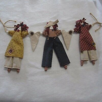 Trio of hand made dolls, country style dolls, fabric, ex shop display