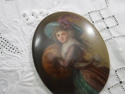 Antique Hand Painted Victorian Portrait Plaque Pretty Girl with Muff