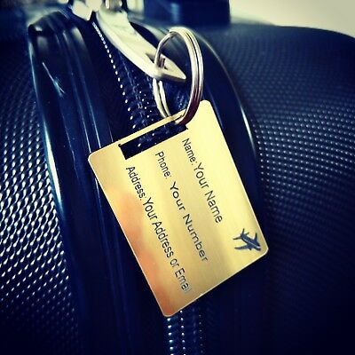 2 x Luggage Tags Personalised gold effect Travel Accessory Gift med 40 X 30 mm