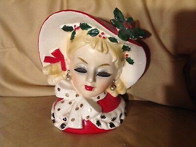 VINTAGE 6 inch Tall HEAD VASE 1961  inarco E-195/S
