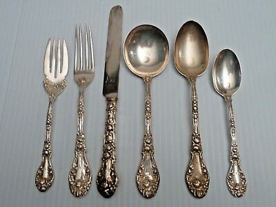 """Durgin """"marechal Niel"""" Sterling 6-Piece Place Setting"""