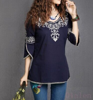Free P&P Women's Peasant Ethnic Embroidered Boho Cotton Blouse Tunic Top Gypsy