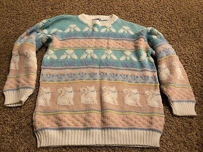 Vintage Arielle Acrylic Cat Sweater Small 80's Pastel