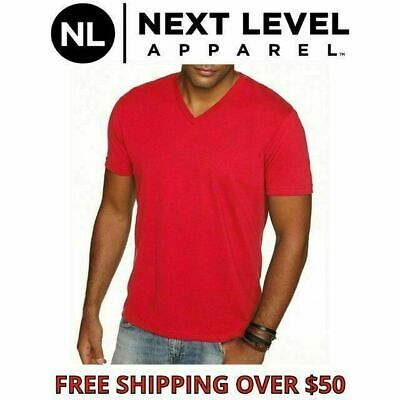Next Level Men's Premium Sueded V-Neck T-shirt  Solid Vee Neck Tee XS-2XL 6440