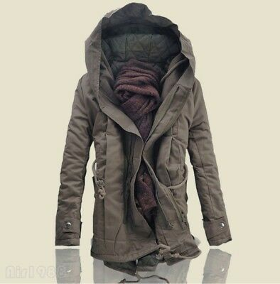 NEW Winter Mens Military Trench Coat Jacket Hooded Parka Thick Cotton outwear UK