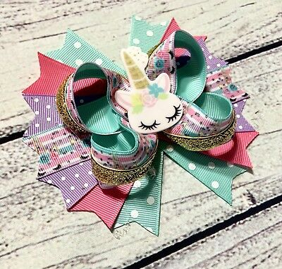 """5"""" Multicolor Handmade Unicorn Stacked Boutique Hair Bow"""