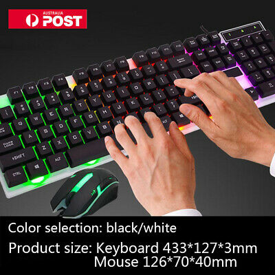 Wired Gaming Gamer Keyboard And Mouse Set Combo RGB LED Backlights Fit PC Laptop
