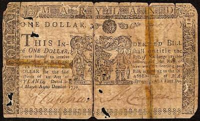 1770 $1 Dollar Maryland Colonial Currency Nature Print Note Very Old Paper Money