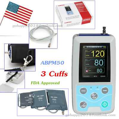 FDA Ambulatory Blood Pressure NIBP Patient Monitor 24h NIBP Holter 3 cuffs USA