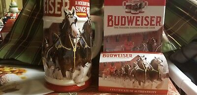 2018 Budweiser Holiday Stein in Box with Certificate of Authenticity