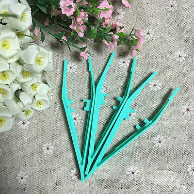 10pcs Disposable Medical First Aid Tweezer Small Plastic Tweezers Green 4.2""