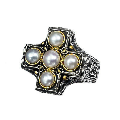 Gerochristo P2437N ~ Sterling & Gold Plated Silver & Pearls Medieval Cross Ring