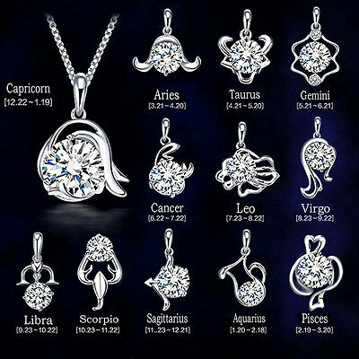 12 Constellations Fashion Lady Jewelry Silver Pendant For Gift Party Festival