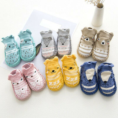 Cute Cartoon Newborn Kids Baby Girl Boys Anti-Slip Warm Socks Slipper Shoes Boot