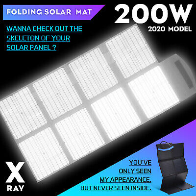 Maxray 12V 200W Folding Solar Panel Blanket Solar Mat Kit Mono Camping Power USB