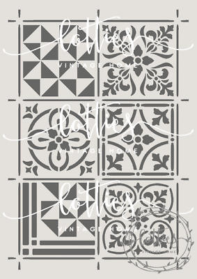 A4 STENCIL ASSORTED VICTORIAN TILES ❤ Furniture Vintage REPEATABLE 190 MYLAR 002