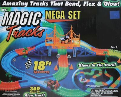 Magic Tracks Glow in the Dark 360 Pieces 3 Led Lights up Race Car Bend Flex 18Ft