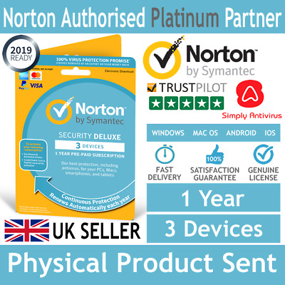 NEW VERSION - Norton Security DELUXE 2019 3 Devices 1 Year - Delivery by Post