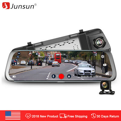 Junsun 10'' Dual Lens FHD 1080P Dash Cam Car DVR Rearview Mirror Backup camera