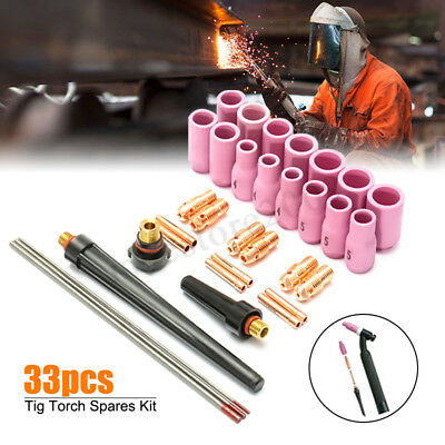 33PCS TIG Welding Torch Stubby Gas Lens #10 Pyrex Glass Cup Kit For WP-9/20/25