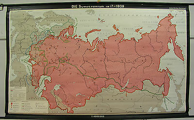 Schulwandkarte Wall Chart Roll Chart Soviet Union 1917-1939 School Map 195x120cm