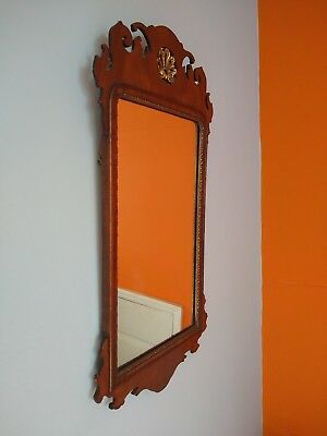 Beautiful Vintage Chippendale Revival Mahogany Gilded Wall Mirror. C1910.