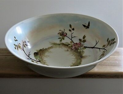Large Antique Hand Thrown JAPANESE Handpainted WASH BOWL Lustre Flowers Insects