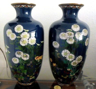 Unusual Large Pair of Japanese Blue Cloisonné Vases with Flora C1900