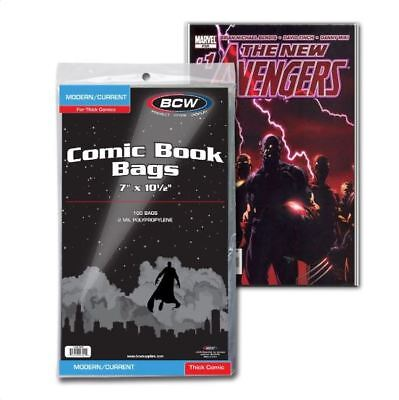 """(100) BCW (Thick) Current Modern Size Comic Book Bags Acid Free Poly 7""""x 10 1/2"""""""